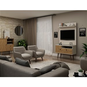Manhattan Comfort Tribeca TV Stand and Panel - 35.43-in - Off-White and Natural Brown