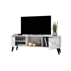 Manhattan Comfort Doyers TV Stand - 53.15-in - White Marble