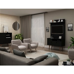 Manhattan Comfort Tribeca TV Stand and Panel - 35.43-in - Black