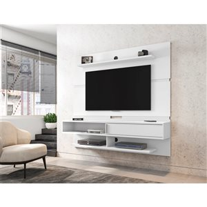 Manhattan Comfort Astor Wall-Mount Entertainment Center - 70.86-in - White