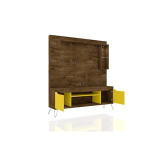 Manhattan Comfort Baxter Entertainment Center- 62.99-in - Rustic Brown and Yellow
