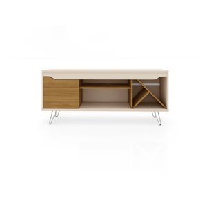 Manhattan Comfort Baxter TV Stand - 53.54-in - Off-White and Cinnamon Brown