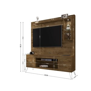 Manhattan Comfort Baxter Entertainment Center- 62.99-in - Rustic Brown