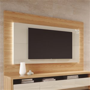 Manhattan Comfort Sylvan TV Panel - 70.86-in - Natural Wood and Off-White