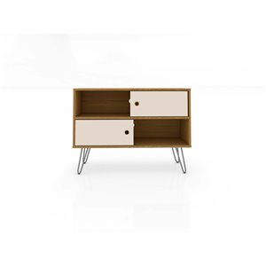 Manhattan Comfort Baxter TV Stand - 35.43-in - Cinnamon Brown and Off-White