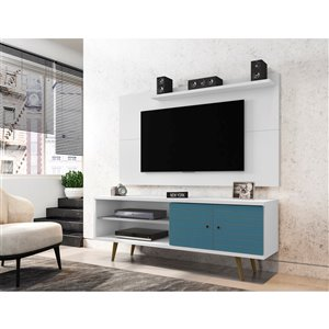 Manhattan Comfort Liberty TV Stand and Panel - 62.99-in - White and Aqua Blue
