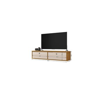 Manhattan Comfort Liberty Entertainment Center- 42.28-in - Cinnamon Brown and Off-White