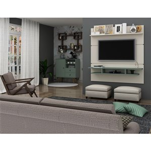 Manhattan Comfort Tribeca Floating Entertainment Center - 62.99-in - Off-White and Green Mint