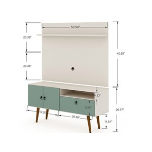 Manhattan Comfort Tribeca TV Stand and Panel - 53.94-in - Off-White and Green Mint