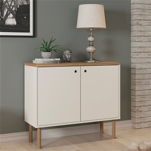 Manhattan Comfort Windsor Accent Cabinet - 35.43-in x 30.71-in - Off-White/Natural Brown