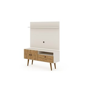 Manhattan Comfort Tribeca TV Stand and Panel - 53.94-in - Off-White and Natural Brown