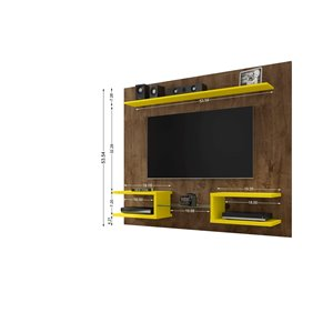Manhattan Comfort Plaza Entertainment Center- 64.25-in - Rustic Brown and Yellow