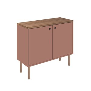 Manhattan Comfort Windsor Accent Cabinet - 35.43-in x 30.71-in - Pink/Natural Brown