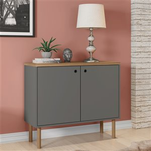 Manhattan Comfort Windsor Accent Cabinet - 35.43-in x 30.71-in - Grey/Natural Brown