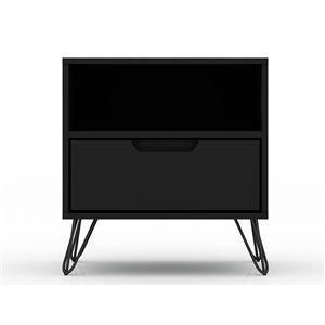Manhattan Comfort Rockefeller 1.0 Nightstand - 21.65-in - Black