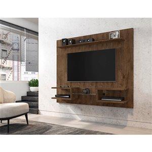 Manhattan Comfort Plaza Floating Entertainment Center - 64.25-in - Rustic Brown