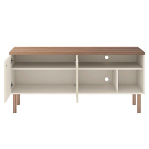Manhattan Comfort Windsor TV Stand - 53.62-in - Off-White and Natural Brown