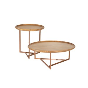 Manhattan Comfort Knickerbocker Accent Table Set - Brown - Set of 2