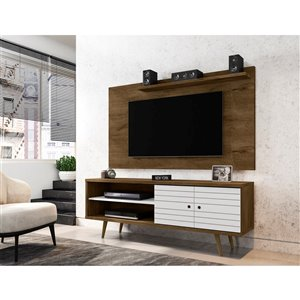Manhattan Comfort Liberty TV Stand and Panel - 62.99-in - Rustic Brown and White