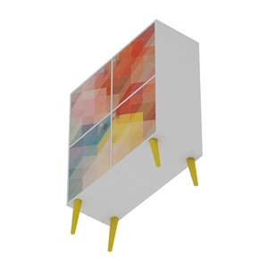 Manhattan Comfort Avesta Office Cabinet - 35.43-in x 45.28-in - Red and Yellow