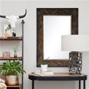Notre Dame Design Maddy Decorative Mirror - 30-in x 42-in - Dark Wood