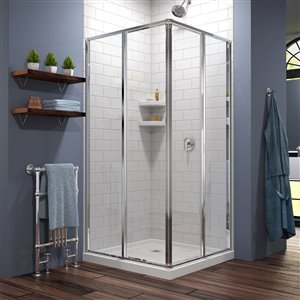 DreamLine Cornerview 42-in D x 42-in W x 74-3/4-in H Framed Sliding Shower Enclosure and SlimLine Shower Base Kit