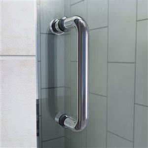 DreamLine Flex 36-in D x 36-in W x 74-3/4-in H Semi-Frameless Pivot Shower Enclosure and SlimLine Shower Base Kit