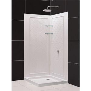 DreamLine Flex 32-in D x 32-in W x 76-3/4-in H Semi-Frameless Pivot Shower Enclosure, SlimLine Shower Base and Backwall Kit