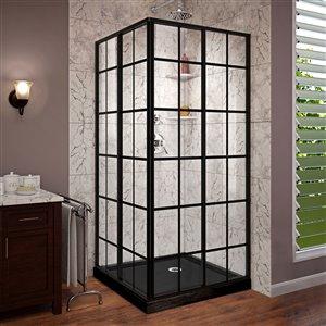 DreamLine French Corner 36-in D x 36-in W x 74-3/4-in H Framed Sliding Shower Enclosure and Shower Base Kit