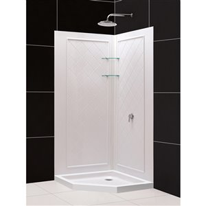 DreamLine Prime 33-in x 33-in x 76-3/4-in H Sliding Shower Enclosure, Shower Base and QWALL-4 Acrylic Backwall Kit, Frosted Glass