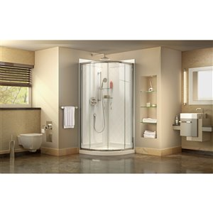 DreamLine Prime 36-in x 36-in x 76-3/4-in H Sliding Shower Enclosure, Shower Base and QWALL-4 Acrylic Backwall Kit, Clear Glass