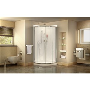 DreamLine Prime 38-in x 38-in x 76-3/4-in H Sliding Shower Enclosure, Shower Base and QWALL-4 Acrylic Backwall Kit, Frosted Glass