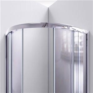 DreamLine Prime 36-in x 36-in x 74-3/4-in Corner Sliding Shower Enclosure and SlimLine Shower Base Kit, Clear Glass