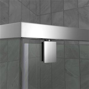 DreamLine Prism 36-in x 36-in x 74-3/4-in H Frameless Pivot Shower Enclosure and SlimLine Shower Base Kit