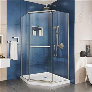DreamLine Prism 38-in x 38-in x 74-3/4-in H Frameless Pivot Shower Enclosure and SlimLine Shower Base Kit