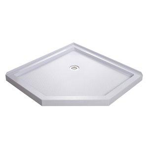 DreamLine Prism 40-in x 40-in x 74-3/4-in H Frameless Pivot Shower Enclosure and SlimLine Shower Base Kit