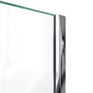 DreamLine Prism 42-in x 42-in x 74-3/4-in H Frameless Pivot Shower Enclosure and SlimLine Shower Base Kit