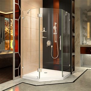 DreamLine Prism Lux 40-in x 40-in x 74-3/4-in H Frameless Hinged Shower Enclosure and SlimLine Shower Base Kit