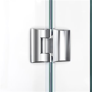 DreamLine Prism Plus 36-in x 36-in x 74-3/4-in Frameless Hinged Shower Enclosure and SlimLine Shower Base Kit