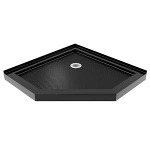 DreamLine Prism Plus 38-in x 38-in x 74-3/4-in Frameless Hinged Shower Enclosure and SlimLine Shower Base Kit