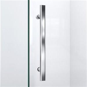 DreamLine Prism Plus 40-in x 40-in x 74-3/4-in Frameless Hinged Shower Enclosure and SlimLine Shower Base Kit