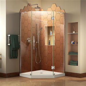 DreamLine Prism Plus 40-in x 40-in x 74-3/4-in Frameless Hinged Shower Enclosure and SlimLine Shower Base Kit
