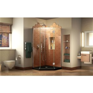 DreamLine Prism Plus 42-in x 42-in x 74-3/4-in Frameless Hinged Shower Enclosure and SlimLine Shower Base Kit