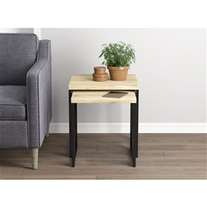 Safdie & Co. Accent Table Set - Reclaimed Wood with Black Metal - Set of 2