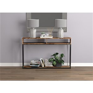 Safdie & Co. Console Table - 2 Open Shelves - 47.25-in - Brown Reclaimed Wood