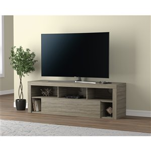 Safdie & Co. TV Stand - 1 Drawer and 5 Shelves - 59-in - Dark Taupe