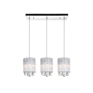 CWI Lighting Water Drop Pendant Light - 3-Light - 24-in - Chrome/Silver