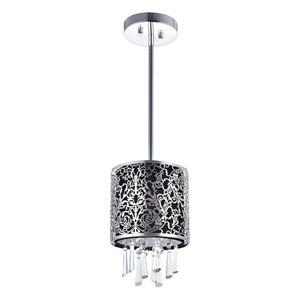 CWI Lighting Tresemme Mini Pendant Light - 1-Light - 6-in - Satin Nickel/Black