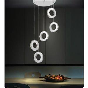 CWI Lighting Ring Pendant Light - LED Light - 20-in - Chrome