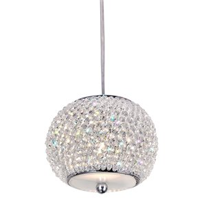 CWI Lighting Tiffany Pendant Light - 9-Light - 20-in - Chrome